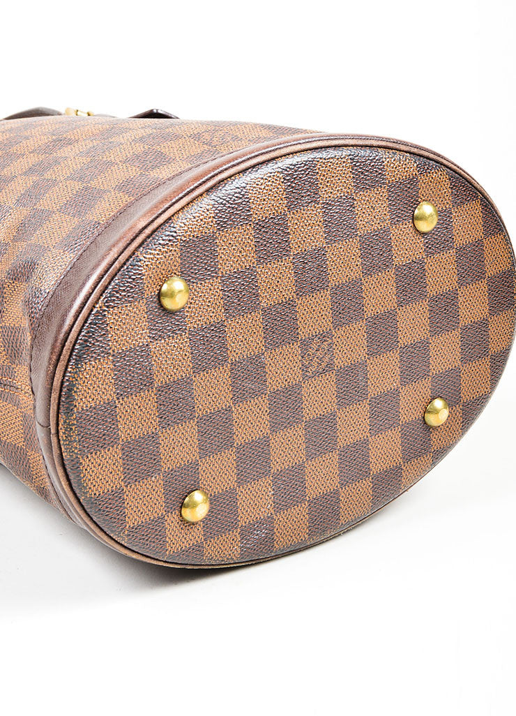 Louis Vuitton Brown Canvas Checkered Bucket Bag Bottom
