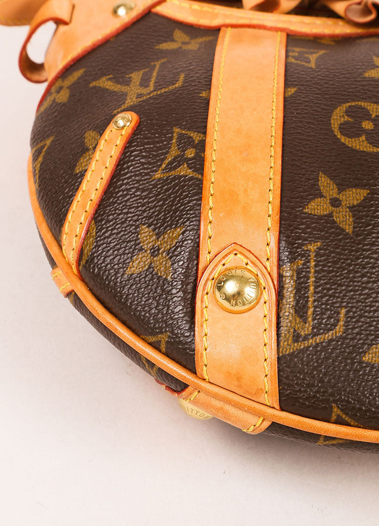 "Louis Vuitton Brown and Tan Coated Canvas and Leather Monogram ""Leonor"" Shoulder Bag Detail"