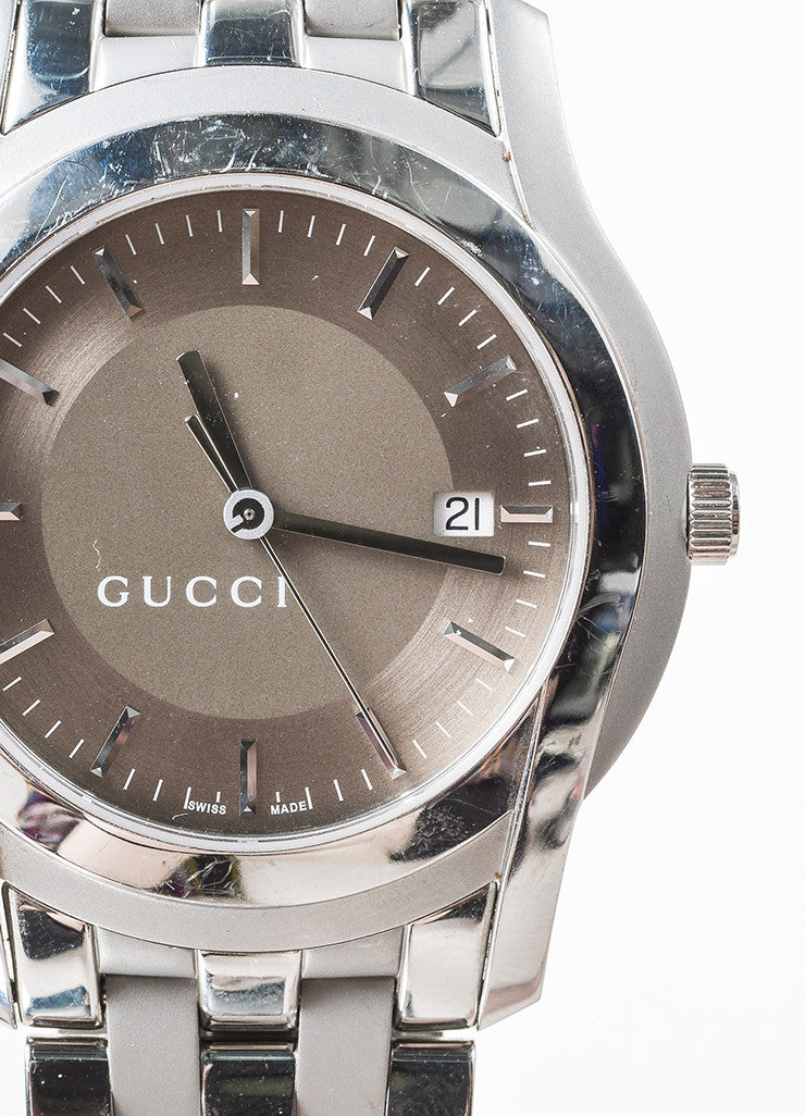 "Men's Gucci Stainless Steel Golden Brown ""5500 XL"" Quartz Bracelet Watch Detail"