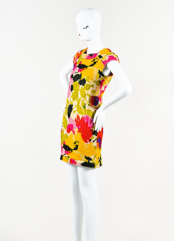 Marni Multicolor Woven Metallic Knit Graphic Print Sleeveless Sheath Dress Sideview