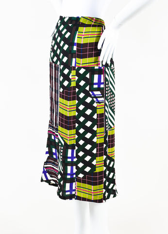 Marni Green Multicolor Mixed Plaid Checkered Print Midi Skirt Side