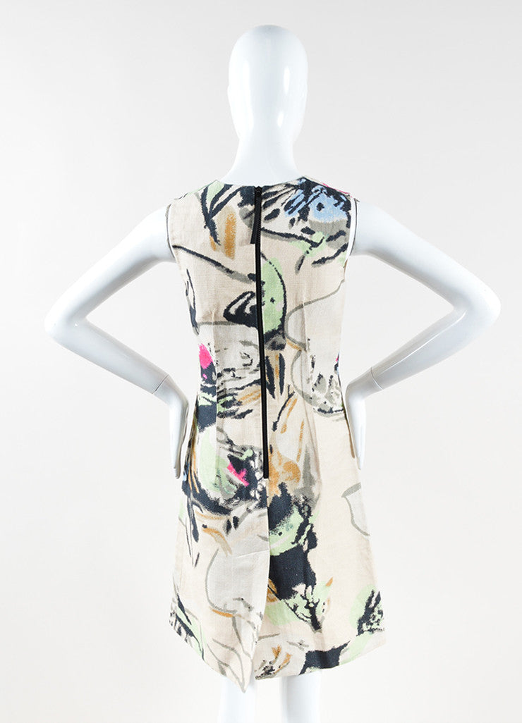 Marni Beige Multicolor Abstract Print Cotton Sleeveless A-Line Dress Back