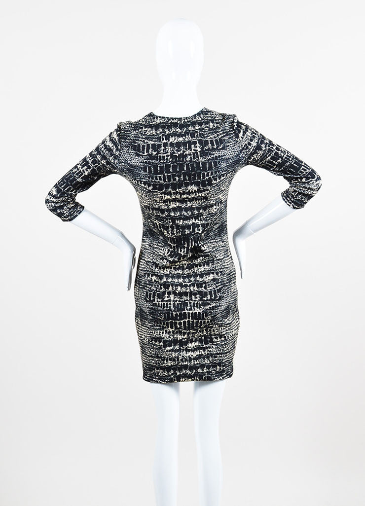 í_í_Œ¢í_?çí_í_McQ by Alexander McQueen Black and Cream Cotton Jersey Croc Print Long Sleeve Bodycon Dress Backview