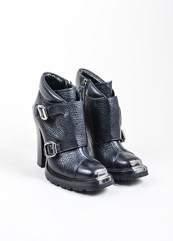 Black and Silver Toned Miu Miu Leather Buckled Steel Toe Heeled Ankle Boots Frontview