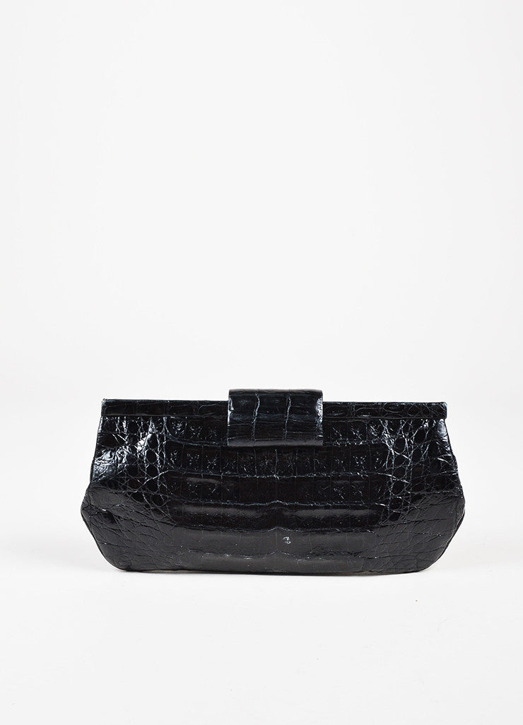 Nancy Gonzalez Black Crocodile Leather Rectangular Clutch Bag Front
