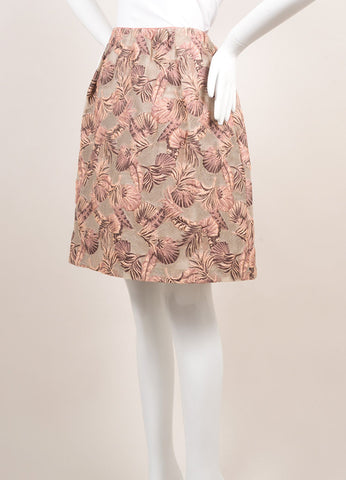 Odeeh New With Tags Peach and Taupe Cotton and Silk Leaf Jacquard Short Bell Skirt Sideview
