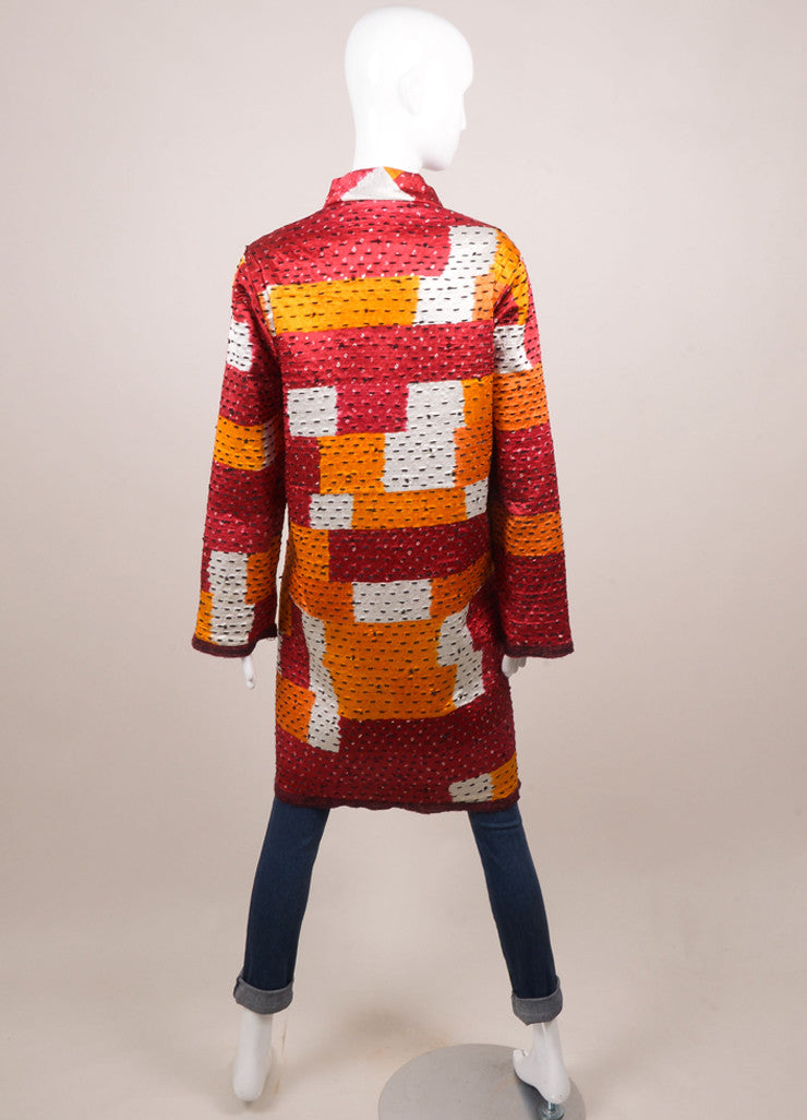 Oscar de la Renta Red Wool and Silk Tweed Reversible Coat Backview 2