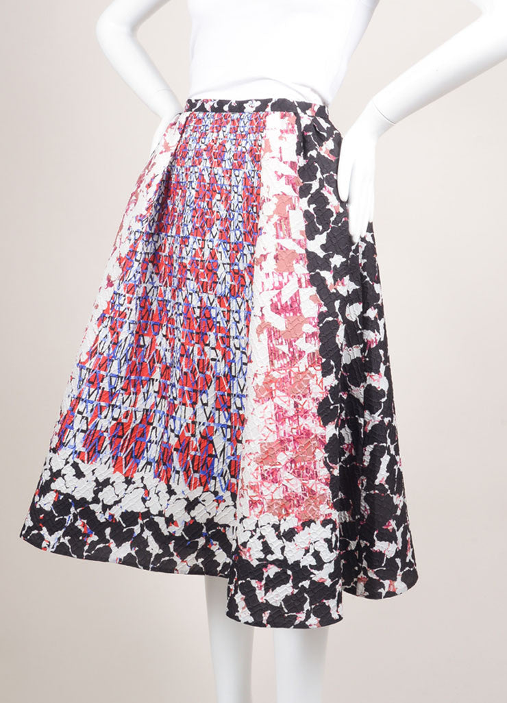 "Peter Pilotto Multicolor Camo Print Mattelasse ""Emma"" Skirt Sideview"