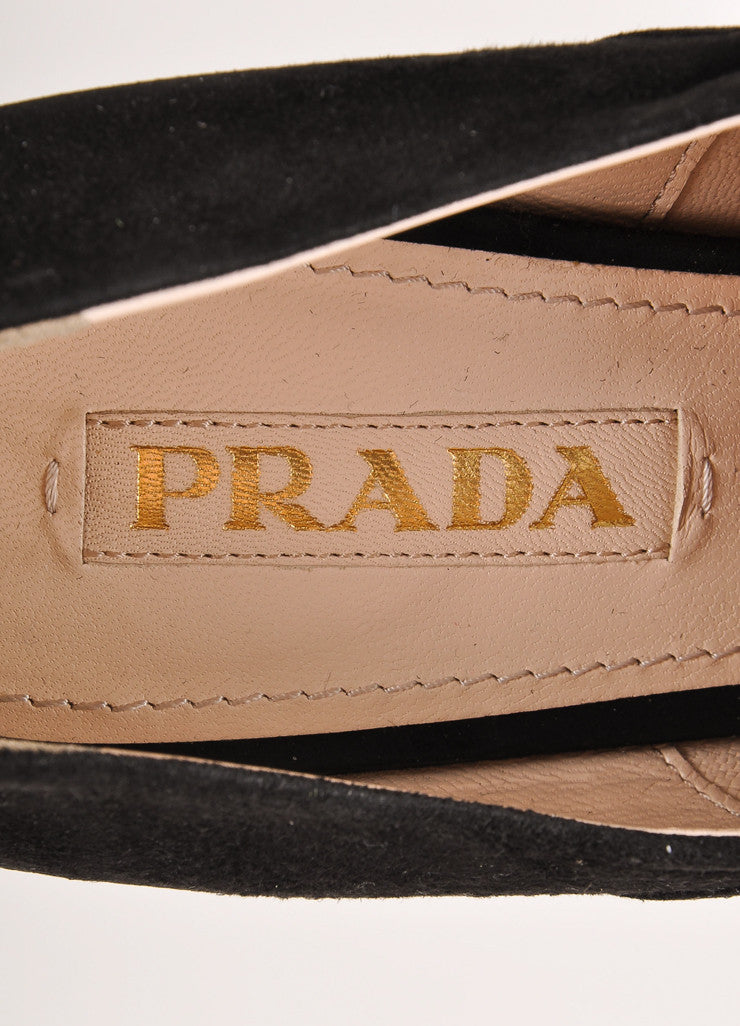 Prada Black Suede and Pony Hair Leopard Lace Up Peep Toe Wedges Brand