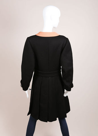 Prada Black and Tan Wool Contrast Pleated Belted Long Sleeve Coat Backview