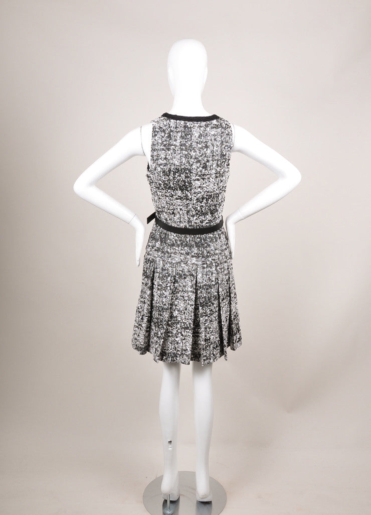 Proenza Schouler New With Tags Black and White Pleat Drop Waist Tweed Belted Dress Backview