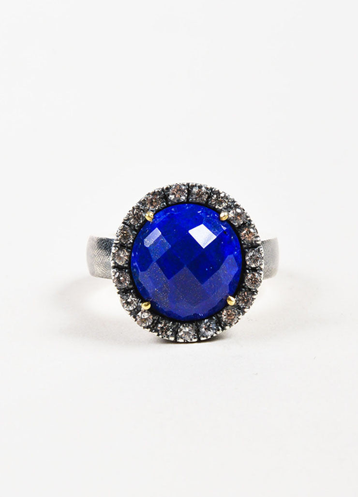 Rene Escobar Sterling Silver, Lapis, and White Sapphire Round Cocktail Ring Frontview