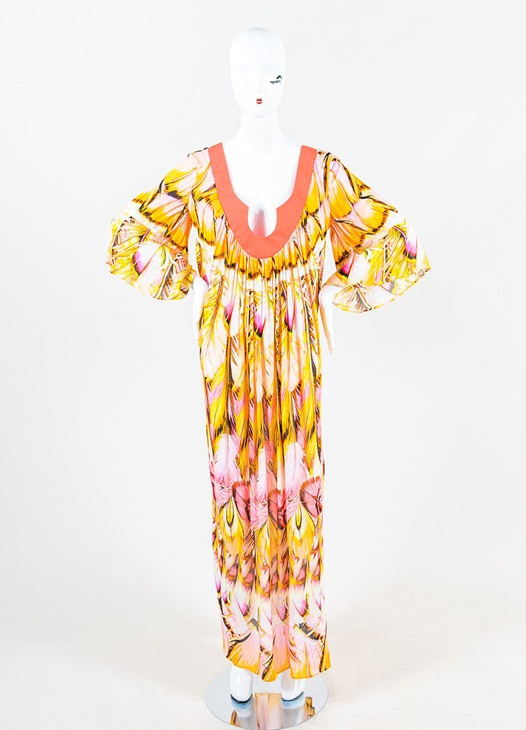 Roberto Cavalli Pink and Multicolor Feather Print Caftan Dress Frontview