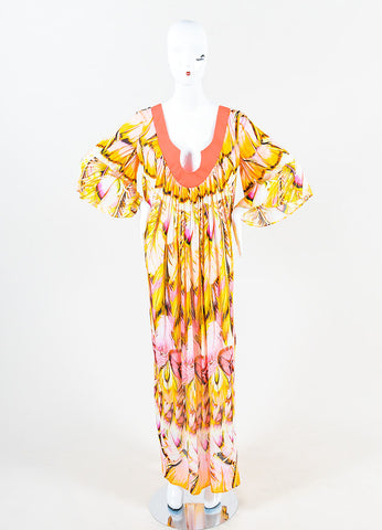 Roberto Cavalli Pink and Multicolor Feather Printed Caftan Dress Frontview
