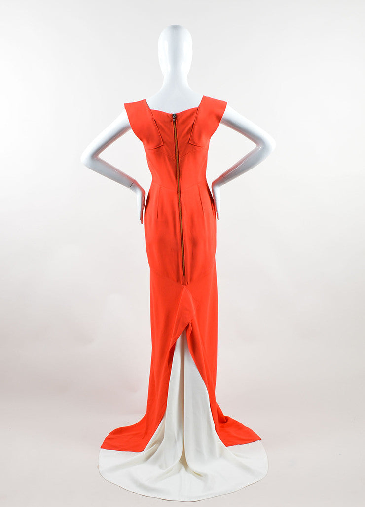 "Roland Mouret Red Cream Sleeveless ""Phoenix"" Gown back"