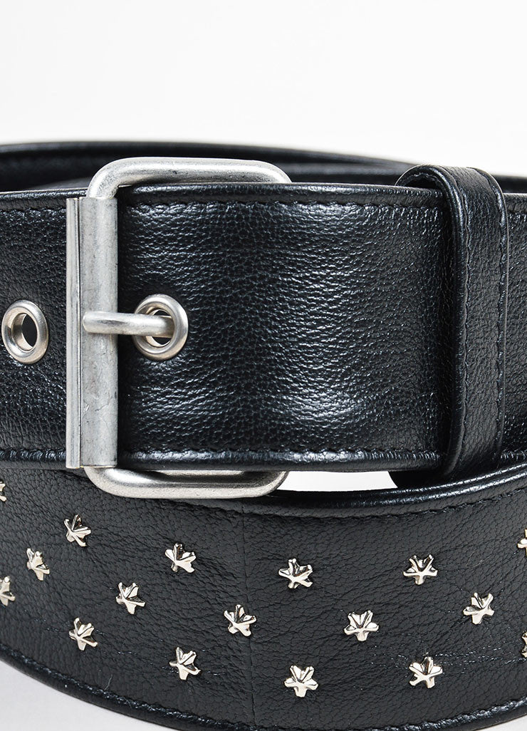 Black and Silver Toned Saint Laurent Leather Star Stud Belt Detail