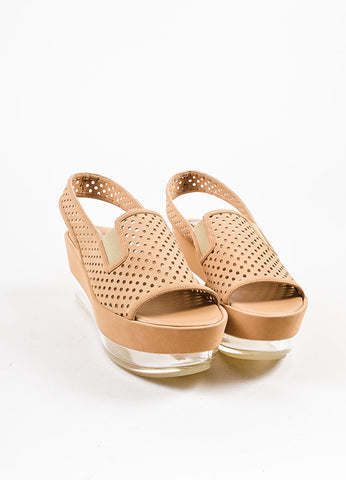 Beige Stella McCartney Perforated Platform Sandals Front