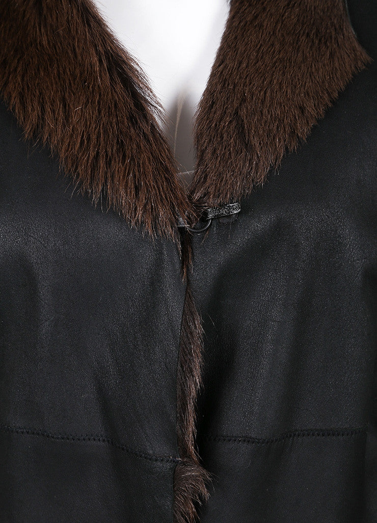 Sylvie Schimmel Black and Brown Shearling, Leather, and Fur Long Sleeve Coat Detail