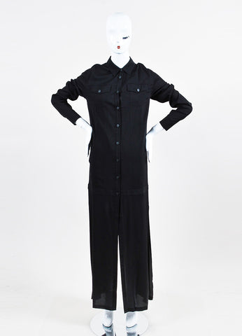 T by Alexander Wang Black Button Down Long Sleeve Shirt Dress Frontview