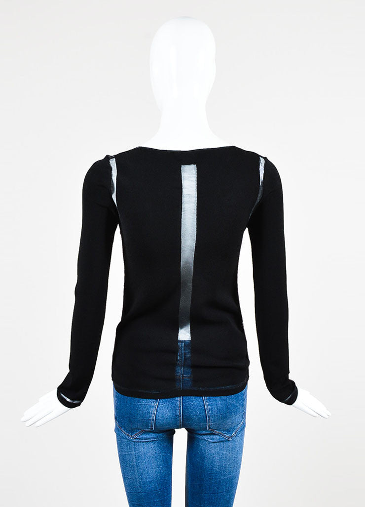 Tom Ford Black Mesh V-Neck See-Through Trim Sweater Backview