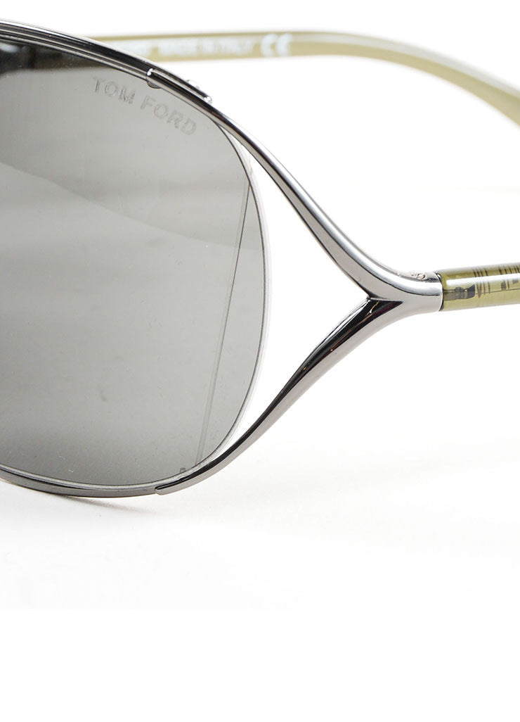 "Tom Ford Grey Plastic and Metal ""Anjelica"" Oversized Sunglasses Detail"