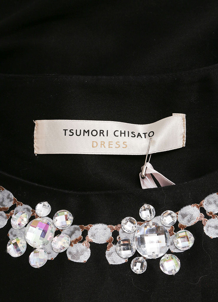 Tsumori Chisato New With Tags Black Beaded Necklace Print Dress Brand