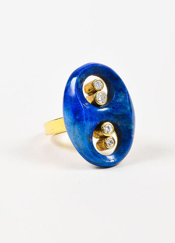 18K Yellow Gold, Diamond, and Lapis Cut Out Oval Ring  Sideview