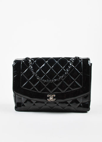 "Black Chanel Quilted Patent Leather ""Diana"" Shoulder Bag Front"