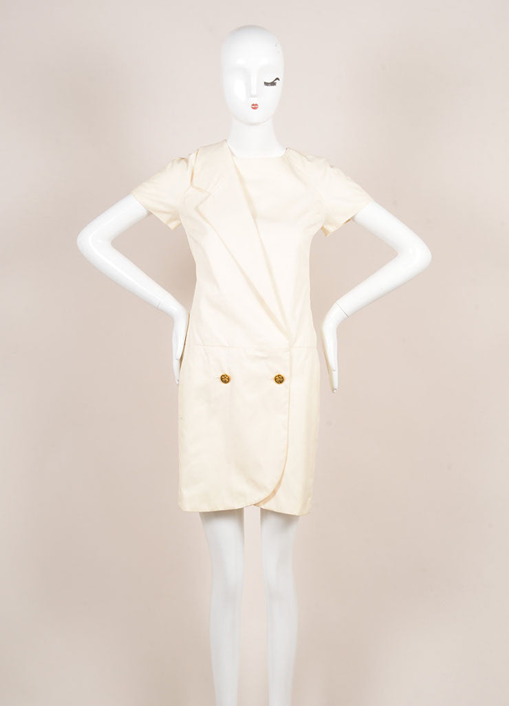 Chanel Cream Cotton Clover Button Short Sleeve Wrap Dress Frontview