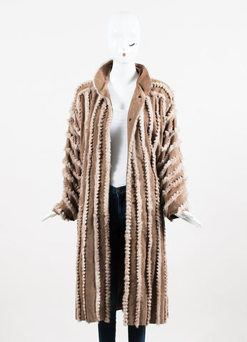 Fendi Camel Brown Suede Fox Fur Trimmed Long Coat Frontview