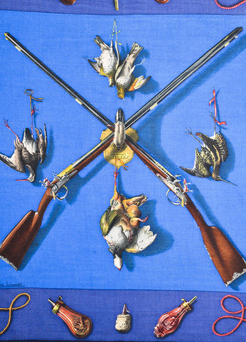 Hermes Blue Cashmere and Silk Rifle Pheasant Print 90cm Scarf Detail