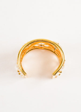 Lanvin Gold Toned and Clear Floral Embellished Cut Out Wide Cuff Bracelet Topview