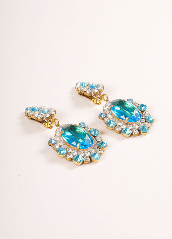 Lilien Blue and Clear Chunky Crystal Rhinestone Cocktail Earrings Sideview