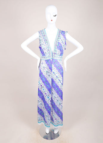 Emilio Pucci for Formfit Rogers Purple and Blue Full Length Sheer Dress Frontview