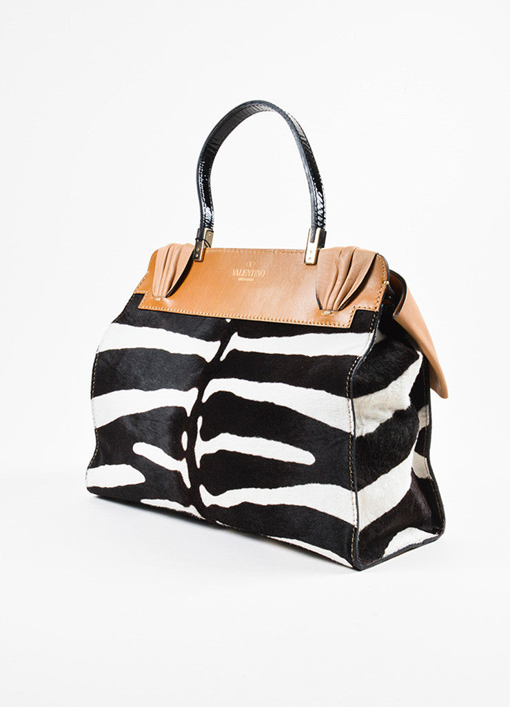 "Valentino Cream and Brown Leather Calf Hair Zebra Print Bow ""Aphrodite"" Bag Sideview"