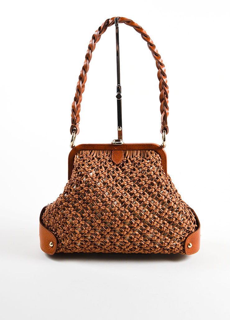 Valentino Brown Knotted Weave Leather Braided Strap Frame Bag Frontview