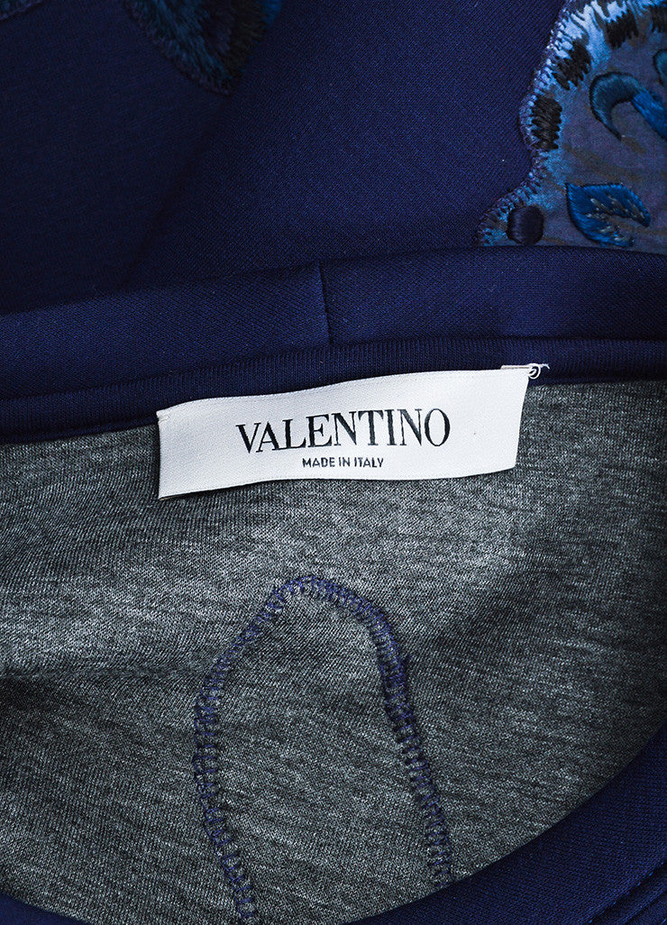 Navy Blue Valentino Scuba Knit Butterfly Embroidered Sweatshirt Brand