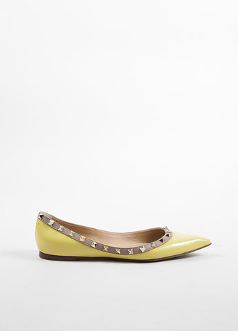 Valentino Yellow, Nude, and Gold Patent Leather Pointed Toe Rockstud Flats Sideview