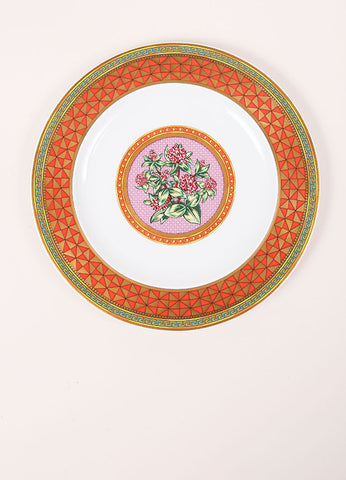 "Versace Rosenthal ""Floral Elegy Rose Pink"" 9 inch Salad Plate Frontview"