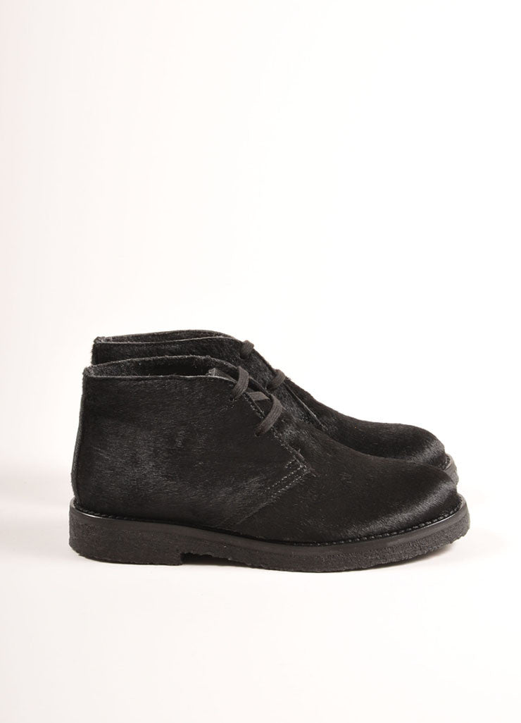 "Vince Black Pony Hair Lace Up Desert Chukka ""Clay"" Boots Sideview"