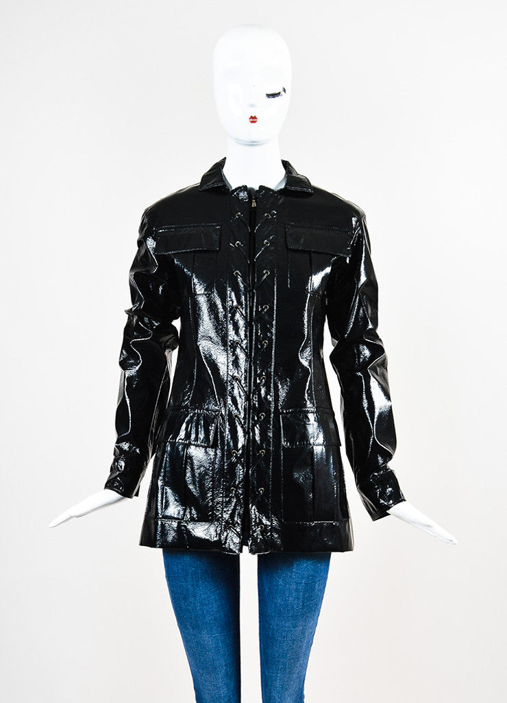 Yves Saint Laurent Black Glossy Faux Leather Lace Up Jacket Frontview 2