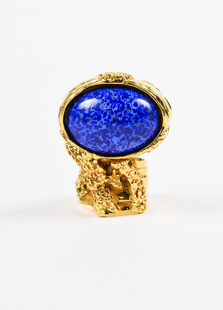 "Yves Saint Laurent Gold Toned Metal and Blue Painted Glass Stone ""Arty"" Ring Frontview"