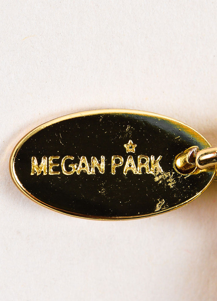 Megan Park Black and Gold Toned Silk Beaded Floral Applique Florina Necklace Brand