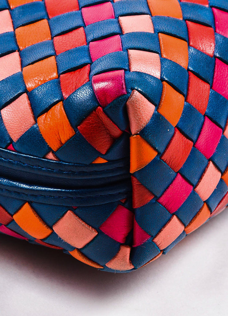 Bottega Veneta Navy, Red, and Orange Leather Intrecciato Cross Body Bag Detail