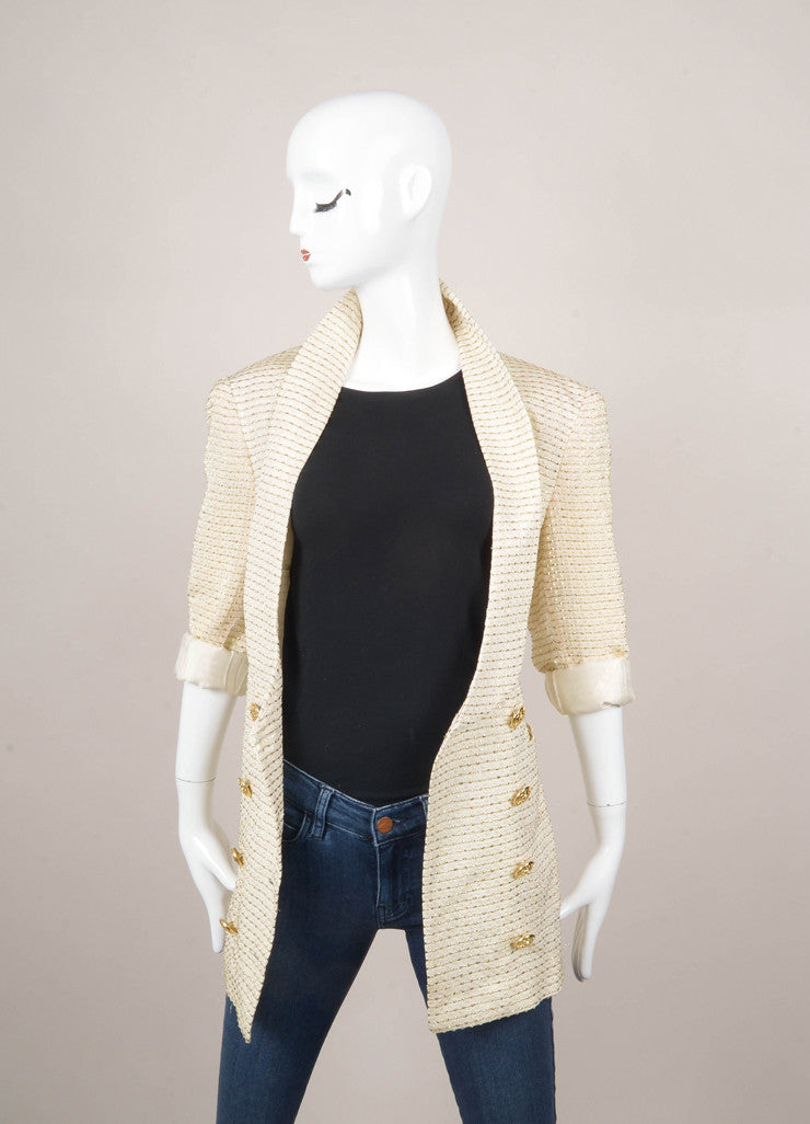 Cream, Gold, and Silver Metallic Embellished Jacket