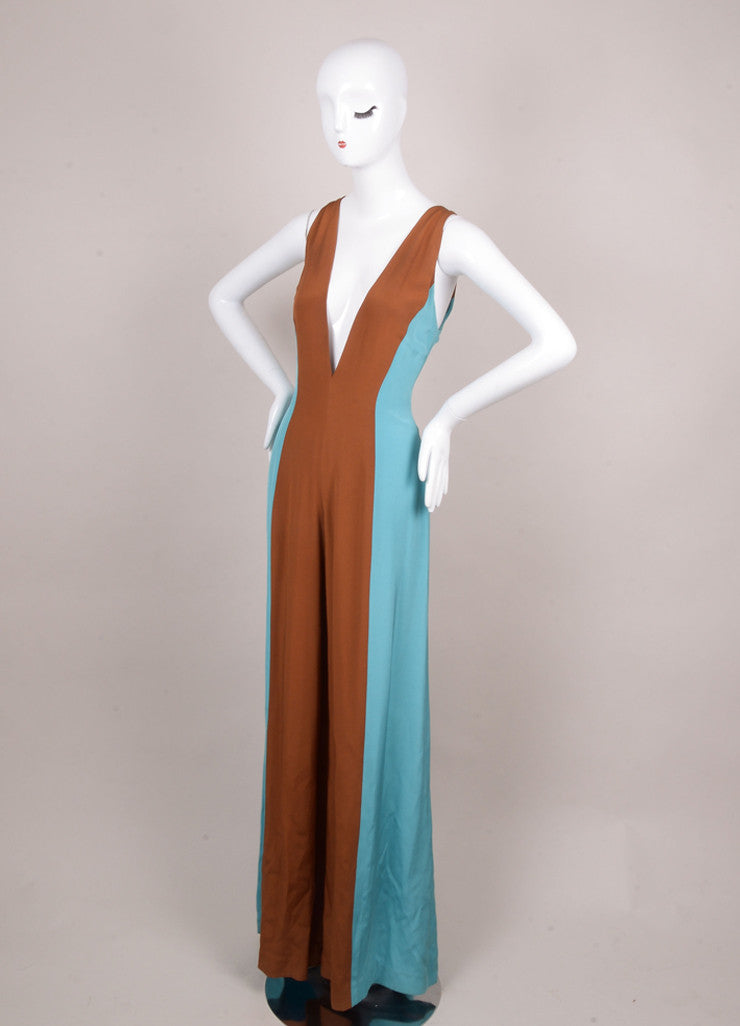 Lorenzo Riva Couture, Blue and Brown Color Block Sleeveless Silk Jumpsuit Sideview