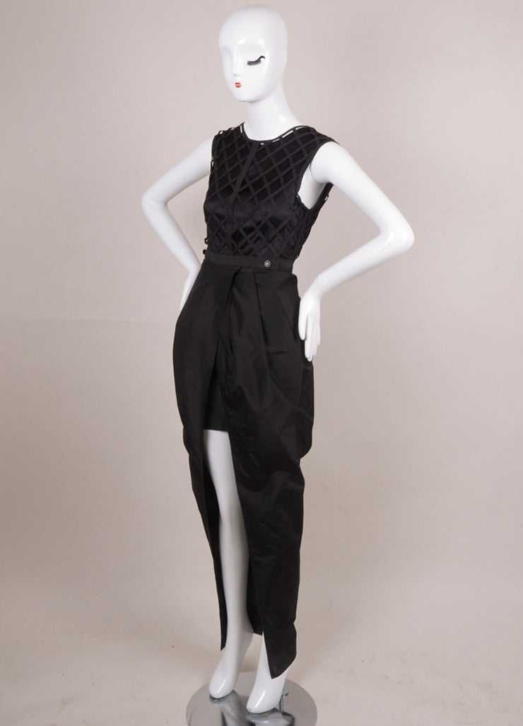 Black Two Piece Lattice Bodice Sleeveless Silk Taffeta Dress