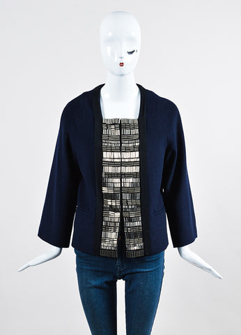 3.1 Phillip Lim Navy Wool Silver Toned Cylinder Embellished Jacket Frontview 2