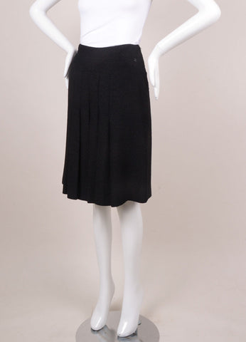 Chanel Black Metallic Wool Pleated Skirt Sideview
