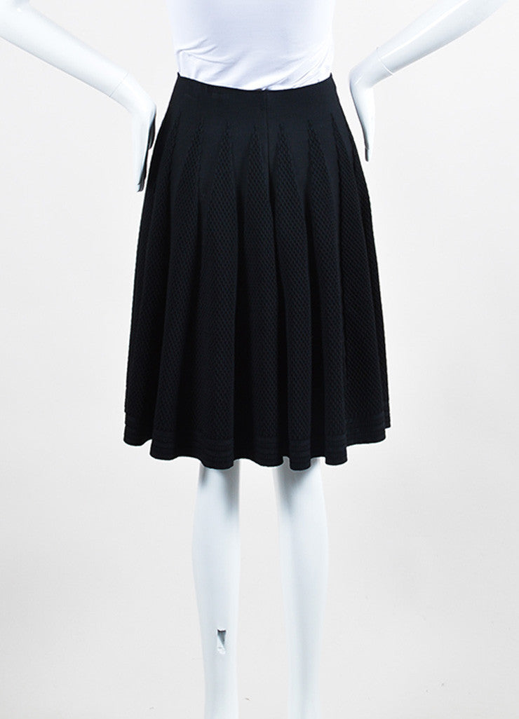 Black Alaia Stretch Crepe Textured Knit A-Line Flared Skirt Backview